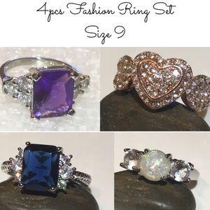4x Fashion Jewelry Lot Size 9 Ring Set Opal Silver